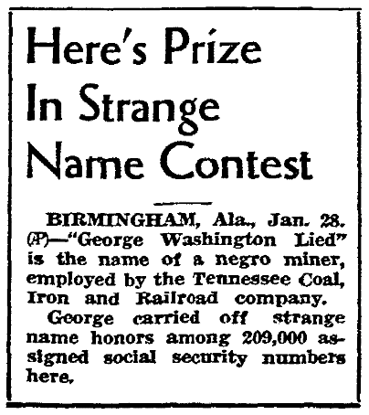 An article about a strange name contest, Riverside Daily Press newspaper article 28 January 1937