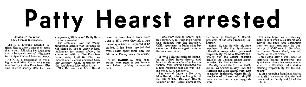 An article about Patty Hearst, Seattle Daily Times newspaper article 18 September 1975