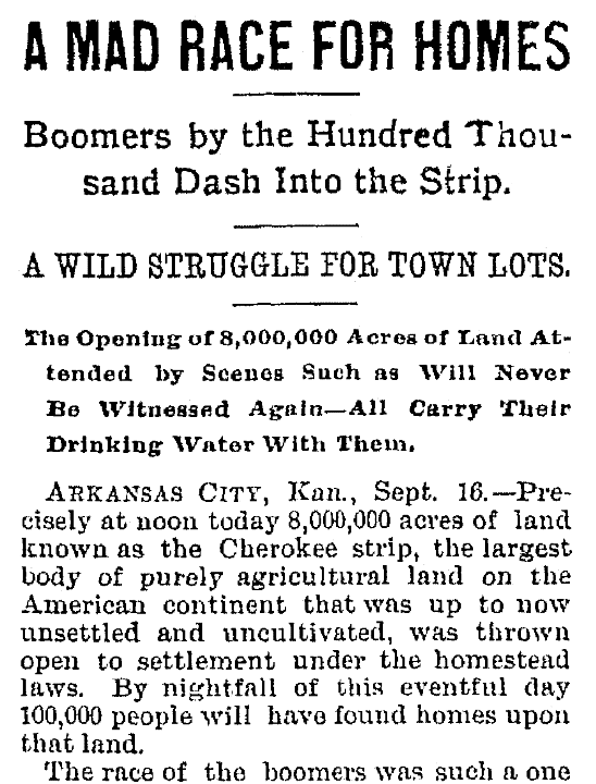 An article about the Oklahoma Land Rush, Trenton Evening Times newspaper article 16 September 1893