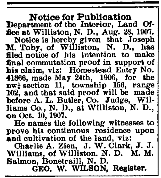 An article about land records, Williston Graphic newspaper article 10 October 1907