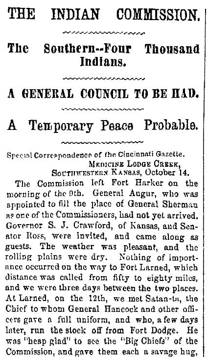 An article about the Medicine Lodge treaty, Cincinnati Daily Gazette newspaper article 21 October 1867