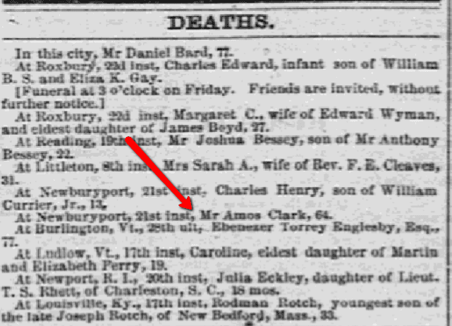 Obituaries, Daily Atlas newspaper article 24 March 1854