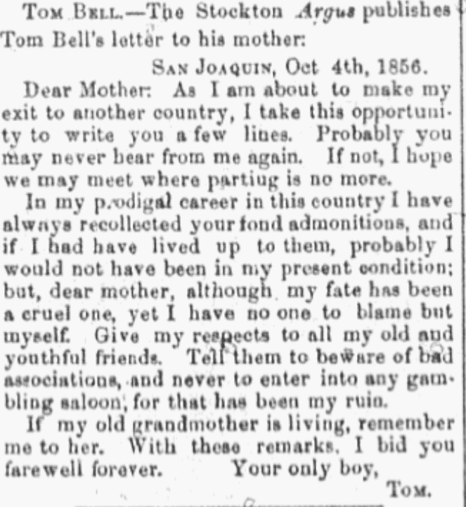 An article about Tom Bell, Daily Democratic State Journal newspaper article 18 October 1856