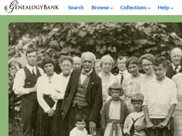 Photo: a screenshot of GenealogyBank's homepage