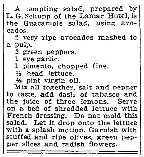 A recipe for guacamole, Houston Chronicle newspaper article 9 March 1934