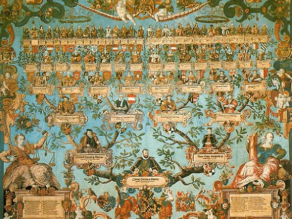 Illustration: the family tree of Ludwig Herzog von Württemberg (ruled 1568–1593), by Jakob Lederlein, 1585