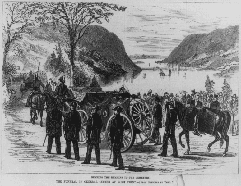 """Illustration: """"The Funeral of General Custer at West Point,"""" from sketches by Theo, published in Harper's Weekly, 27 October 1877"""