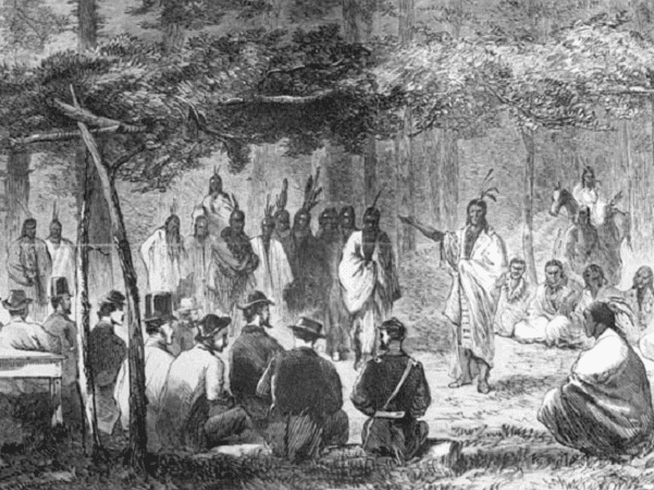 Illustration: council at Medicine Lodge Creek. This drawing by J. Howland, originally printed in Harper's Weekly, depicts the council between representatives of the U.S. government and the Kiowa and Comanche tribes at Medicine Lodge Creek, Kansas, in October 1867.