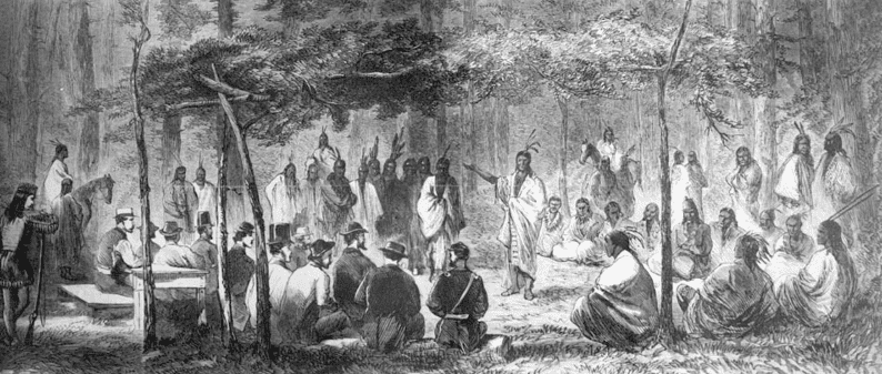 Illustration: council at Medicine Lodge Creek. This drawing by J. Howland, originally printed in Harper's Weekly, depicts the council between representatives of the U.S. government and the Kiowa and Comanche tribes at Medicine Creek Lodge, Kansas, in October 1867
