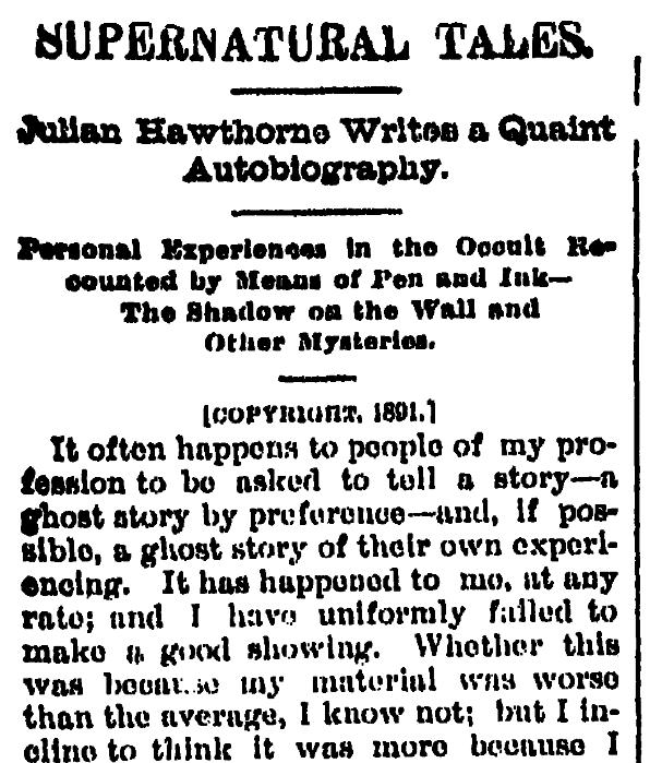An article about Julian Hawthorne, Kalamazoo Gazette newspaper article 23 March 1891