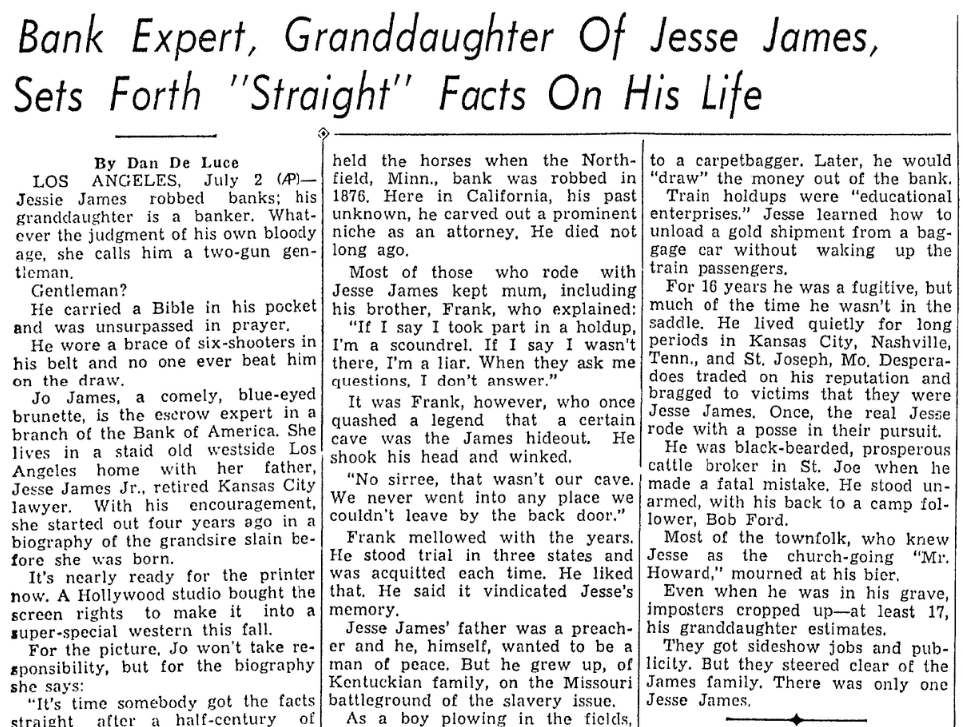 An article about the granddaughter of Jesse James, Lexington Herald newspaper article 3 July 1938