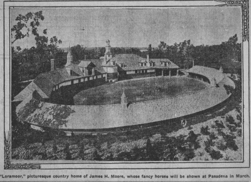 A photo of the estate of James H. Moore, Los Angeles Times newspaper article 28 January 1906
