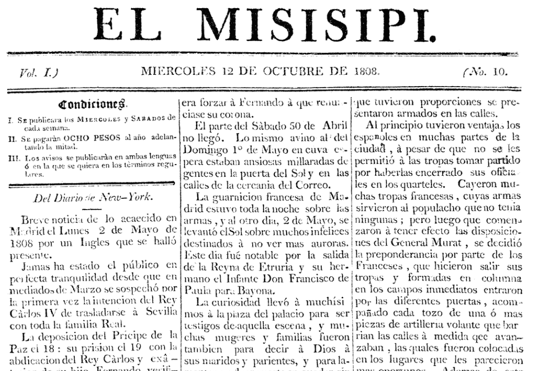 Front page, Misisipi newspaper 12 October 1808