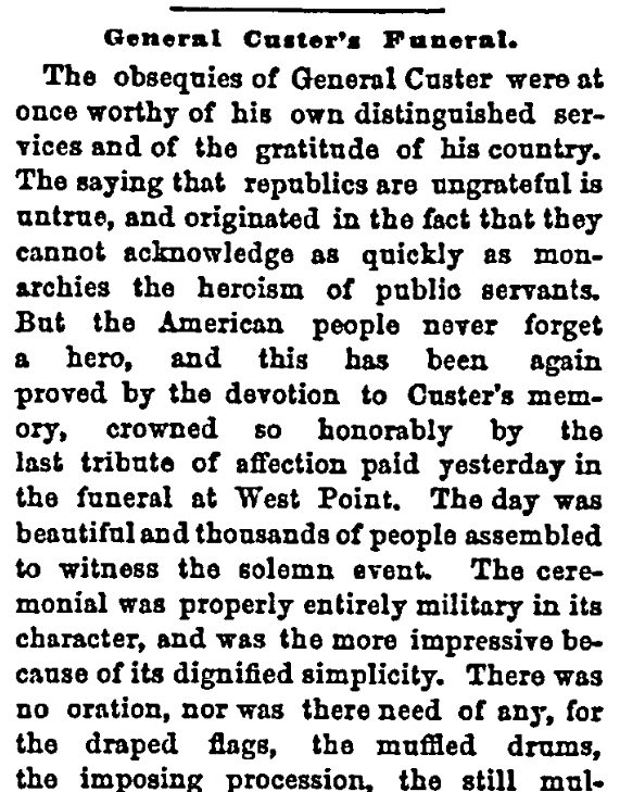 An article about Custer's funeral, New York Herald newspaper article 11 October 1877