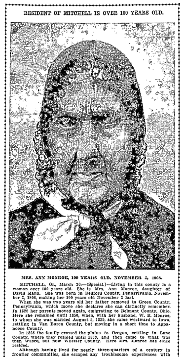 An article about Ann Monroe, Oregonian newspaper article 21 March 1909