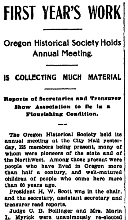 An article about the Oregon Historical Society, Oregonian newspaper article 17 December 1899