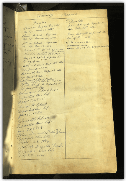 Photo: family record page of the family Bible of Amos and Olive Clark