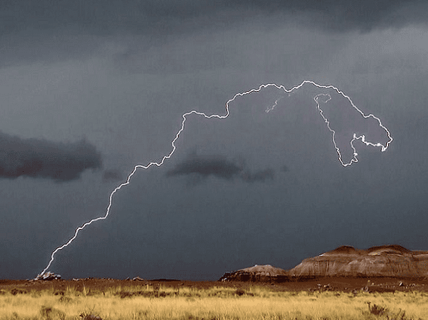 Photo: a lightning bolt at Petrified Forest National Park, USA. Credit: Hallie Larsen; National Park Service; Wikimedia Commons.