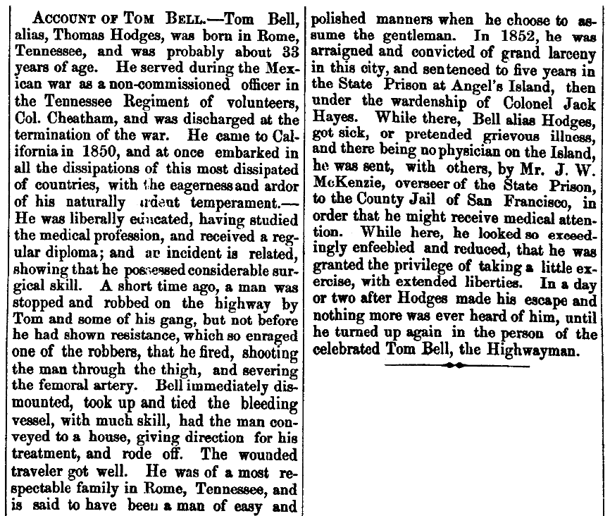 An article about Tom Bell, San Andreas Independent newspaper article 11 October 1856