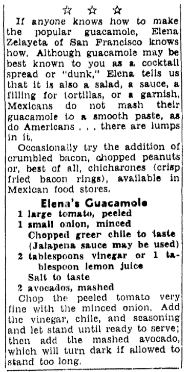 A recipe for guacamole, San Francisco Chronicle newspaper article 22 January 1953