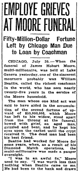 An article about William Beattie, San Francisco Chronicle newspaper article 21 July 1916