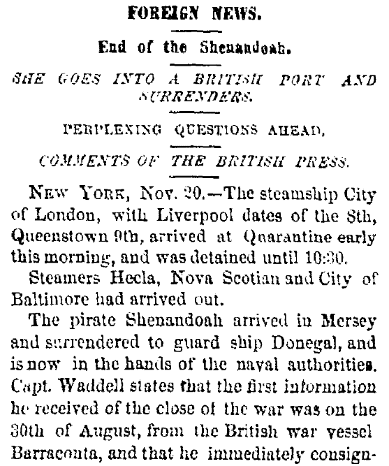 An article about the surrender of the Confederate warship CSS Shenandoah, Albany Evening Journal newspaper article 20 November 1865