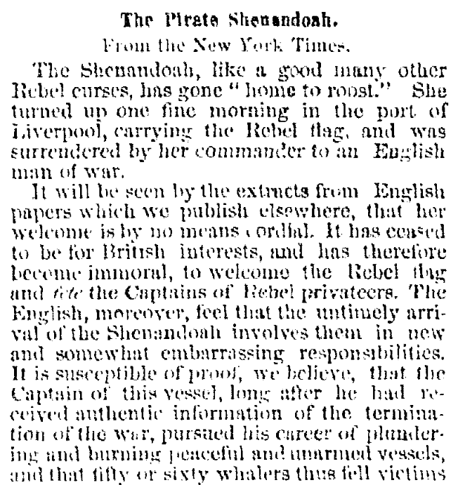 An article about the surrender of the Confederate warship CSS Shenandoah, Albany Evening Journal newspaper article 21 November 1865