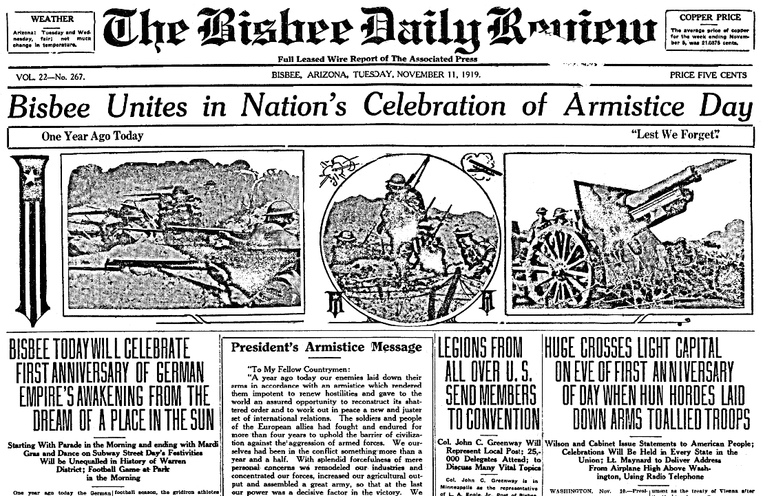 An article about Armistice Day, Arizona Daily Orb newspaper article 11 November 1919