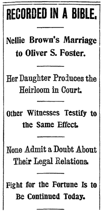 An article about the Oliver Foster probate case, Boston Herald newspaper article 10 October 1900