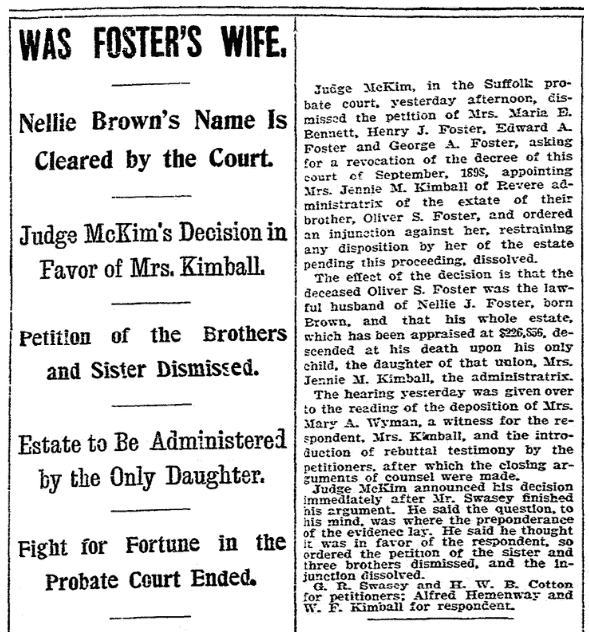 An article about the Oliver Foster probate case, Boston Herald newspaper article 17 October 1900