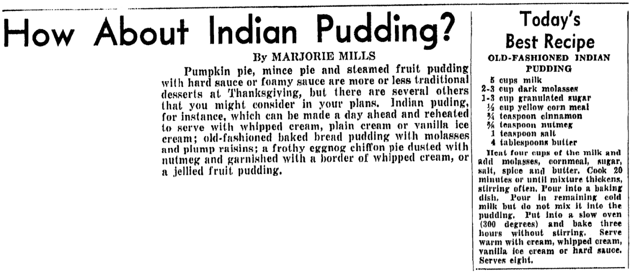 A recipe for Indian pudding, Boston Traveler newspaper article 25 November 1946
