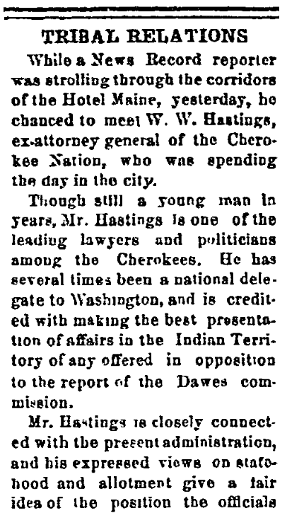 An article about the Dawes Commission, Cherokee Advocate newspaper article 13 June 1896