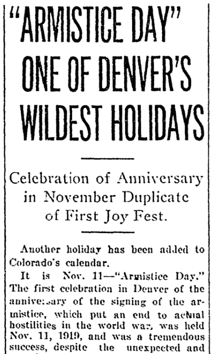 An article about Armistice Day, Denver Post newspaper article 1 January 1920