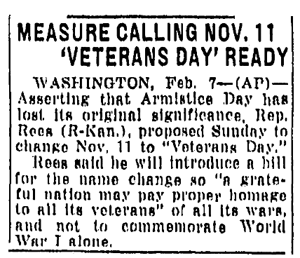 An article about Veterans Day, Evansville Courier and Press newspaper article 8 February 1954