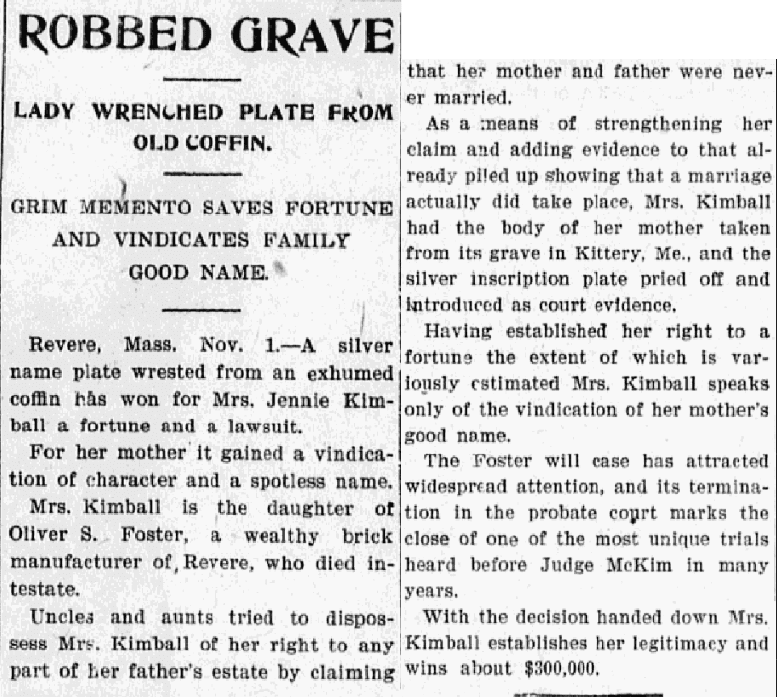 An article about the Oliver Foster probate case, Evening News newspaper article 1 November 1900