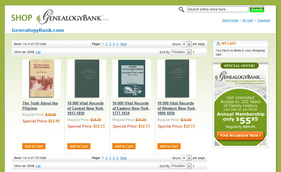 Photo: GenealogyBank store