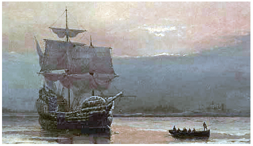"""Painting: """"Mayflower in Plymouth Harbor,"""" by William Halsall, 1882"""