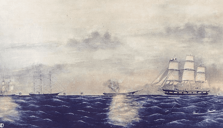 """Illustration: """"Destruction of Whale Ships off Cape Thaddeus, Arctic Ocean, June 23, 1865, by the Conft. Stmr. Shenandoah,"""" by B. Russell"""