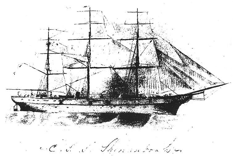Illustration: a pencil sketch of CSS Shenandoah, from the inside cover of a notebook kept by her commanding officer, James Iredell Waddell
