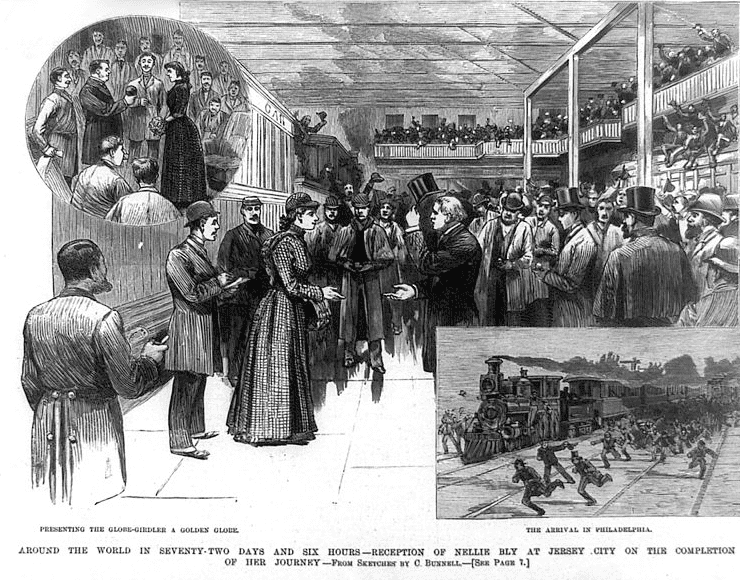 Illustration: a woodcut image of Nellie Bly's homecoming reception in Jersey City printed in Frank Leslie's Illustrated News on 8 February 1890