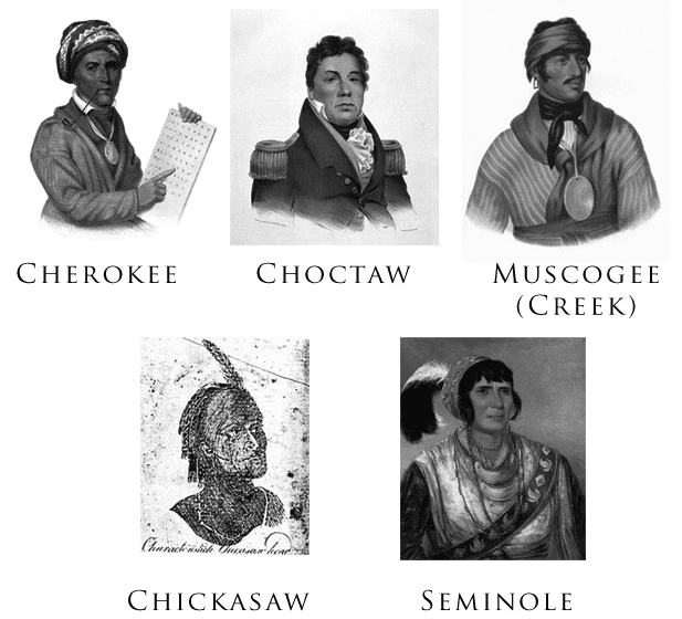 "Illustration: gallery of the Five Civilized Tribes: Sequoyah (Cherokee), Pushmataha (Choctaw), Selecta (Muscogee/Creek), a ""Characteristic Chickasaw Head,"" and Osceola (Seminole). The portraits were drawn or painted between 1775 and 1850."