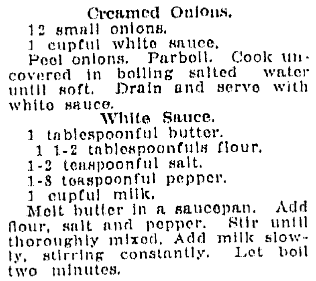 A recipe for creamed onions, Jackson Citizen Patriot newspaper article 17 November 1919