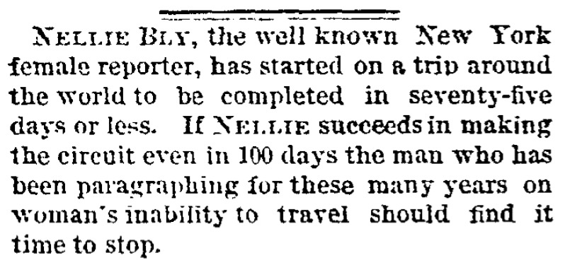 An article about Nellie Bly, Kansas City Times newspaper article 17 November 1889