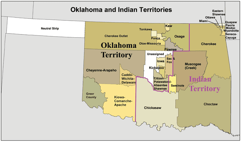 Map: Oklahoma and Indian Territories in the 1890s