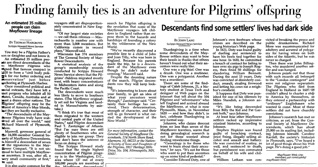 An article about researching Mayflower lineage, Milwaukee Journal Sentinel newspaper article 27 November 1997