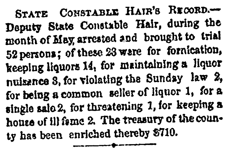 An article about Constable Charles Hair, National Aegis newspaper article 15 June 1867
