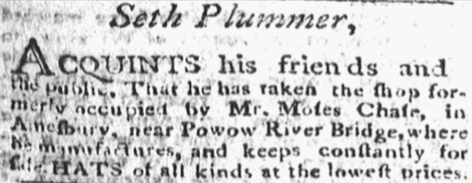 An article about Seth Plummer, Newburyport Herald newspaper article 11 January 1799