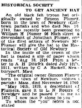 An article about Simeon Plummer's hat, Newburyport Herald newspaper article 14 May 1947