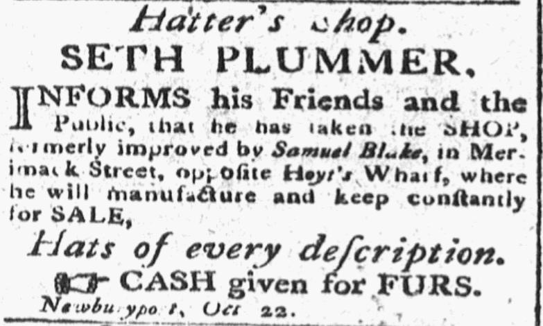 An article about Seth Plummer, Newburyport Herald newspaper article 1 November 1799
