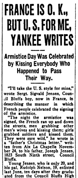 An article about the armistice ending World War I, Omaha Daily Bee newspaper article 12 January 1919